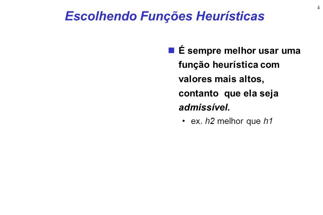 4 Escolhendo Funções Heurísticas É sempre melhor usar uma função heurística com valores mais altos, contanto que ela seja admissível. ex. h2 melhor qu