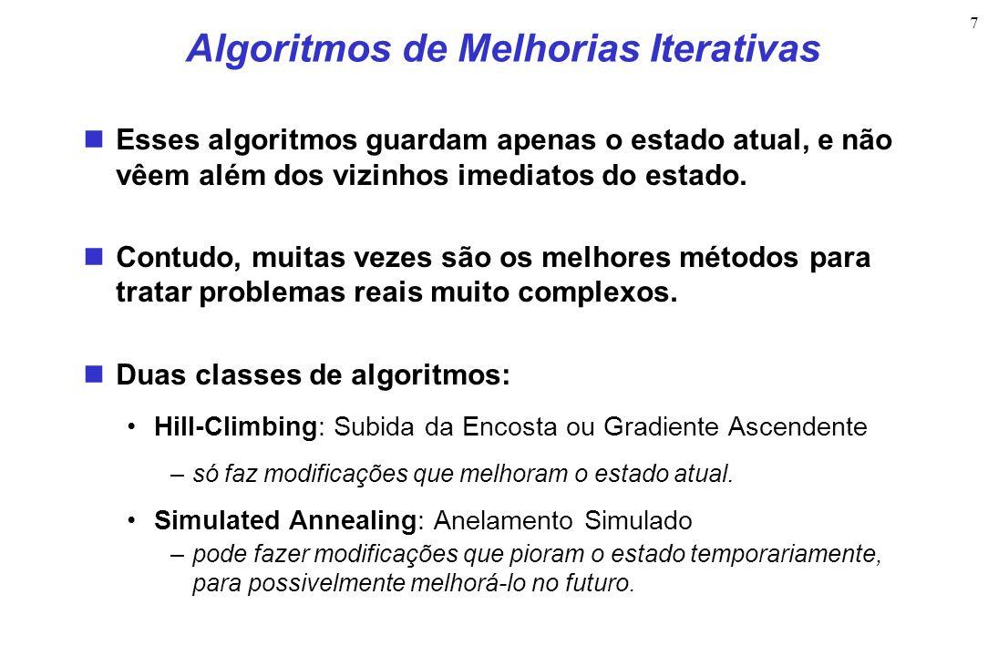 7 Algoritmos de Melhorias Iterativas Esses algoritmos guardam apenas o estado atual, e não vêem além dos vizinhos imediatos do estado. Contudo, muitas