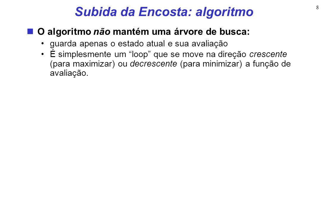 8 Subida da Encosta: algoritmo O algoritmo não mantém uma árvore de busca: guarda apenas o estado atual e sua avaliação É simplesmente um loop que se