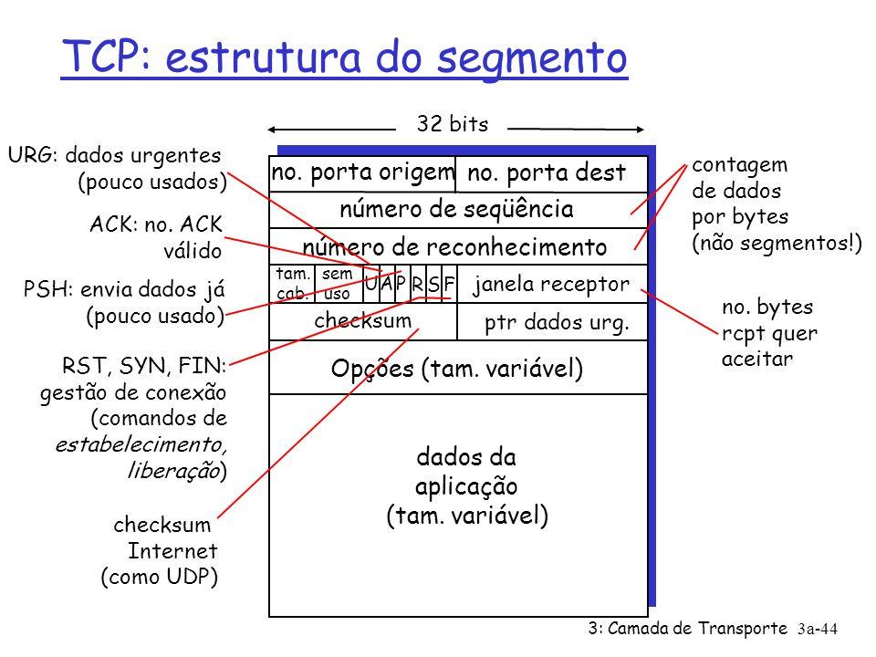 3: Camada de Transporte3a-43 TCP: Visão geral RFCs: 793, 1122, 1323, 2018, 2581 Ø transmissão full duplex: ü fluxo de dados bi- direcional na mesma conexão ü MSS: tamanho máximo de segmento Ø orientado a conexão: ü handshaking (troca de msgs de controle) inicia estado de remetente, receptor antes de trocar dados Ø fluxo controlado: ü receptor não será afogado Ø ponto a ponto: ü 1 remetente, 1 receptor Ø fluxo de bytes, ordenados, confiável: ü não estruturado em msgs Ø dutado: ü tam.