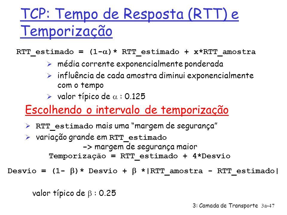 3: Camada de Transporte3a-46 TCP: Tempo de Resposta (RTT) e Temporização P: como escolher valor do temporizador TCP.