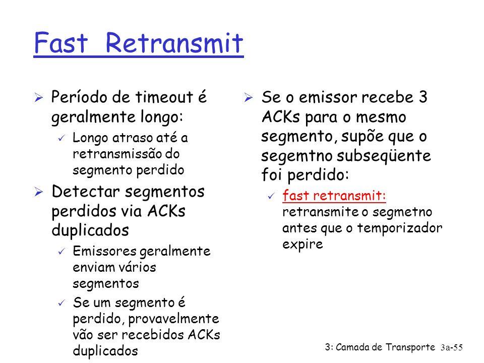 3: Camada de Transporte3a-54 TCP geração de ACKs [ RFCs 1122, 2581] Evento chegada de segmento em ordem sem lacunas, anteriores já reconhecidos chegada de segmento em ordem sem lacunas, um ACK retardado pendente chegada de segmento fora de ordem, com no.