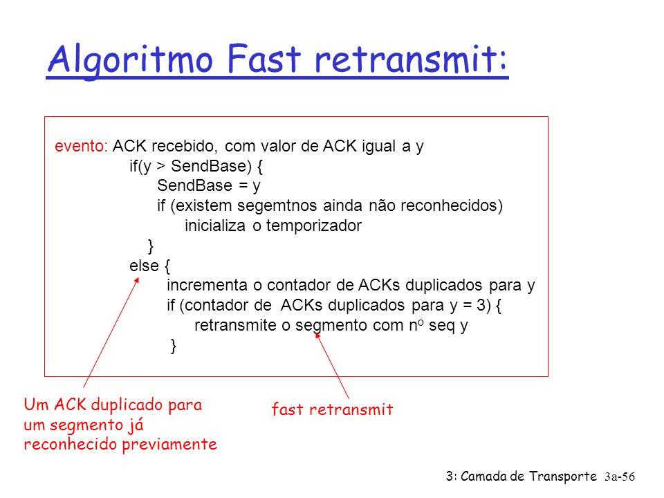 3: Camada de Transporte3a-55 Fast Retransmit Ø Período de timeout é geralmente longo: ü Longo atraso até a retransmissão do segmento perdido Ø Detectar segmentos perdidos via ACKs duplicados ü Emissores geralmente enviam vários segmentos ü Se um segmento é perdido, provavelmente vão ser recebidos ACKs duplicados Ø Se o emissor recebe 3 ACKs para o mesmo segmento, supõe que o segemtno subseqüente foi perdido: ü fast retransmit: retransmite o segmetno antes que o temporizador expire