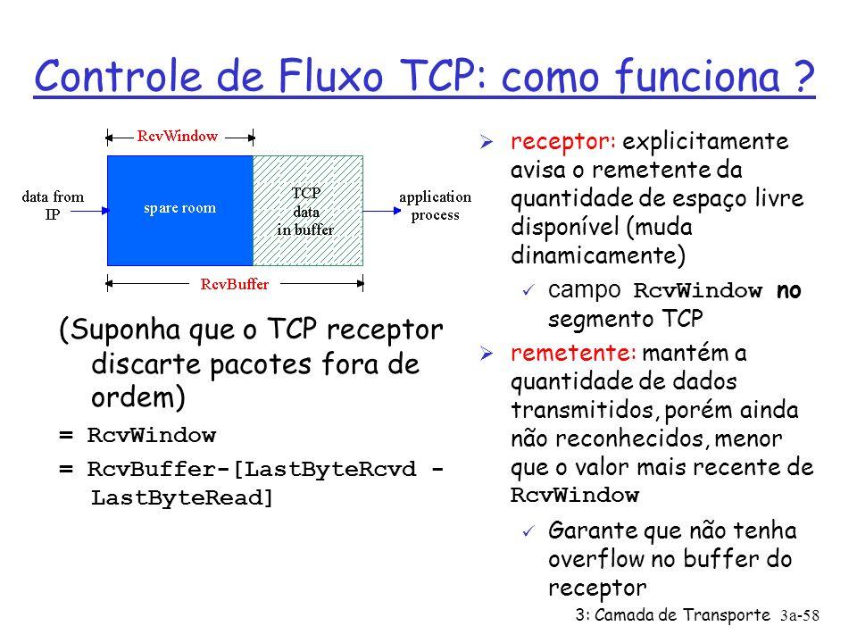 3: Camada de Transporte3a-57 remetente não esgotaria buffers do receptor por transmitir muito, ou muito rápidamente controle de fluxo TCP: Controle de Fluxo Ø Lado receptor de uma conexão TCP tem um buffer de recepção: Ø Processo da aplicação pode ser lento para retirar os dados do buffer Ø Serviço de compatibilização de velocidades: compatibilizar a taxa de envio do emissor com a taxa de recebimento dos dados da aplicação do receptor