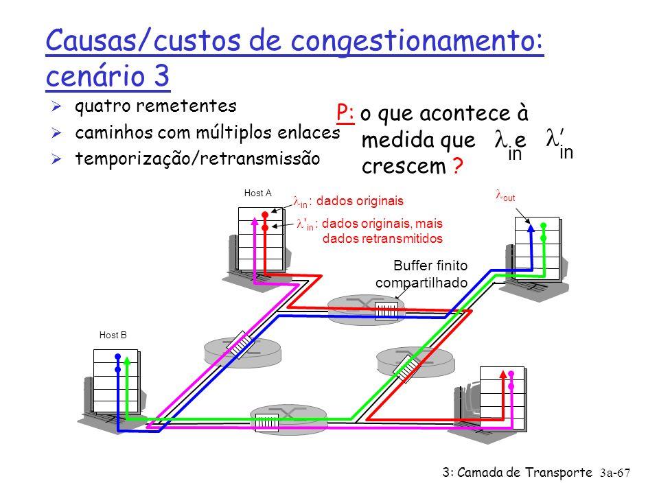 3: Camada de Transporte3a-66 Causas/custos de congestionamento: cenário 2 Ø sempre: (goodput) Ø retransmissão perfeito apenas quando perda: Ø retransmissão de pacote atrasado (não perdido) faz maior (que o caso perfeito) para o mesmo in out = in out > in out custos de congestionamento: Ø mais trabalho (retransmissão) para dado goodput Ø retransmissões desnecessárias: enviadas múltiplas cópias do pacote