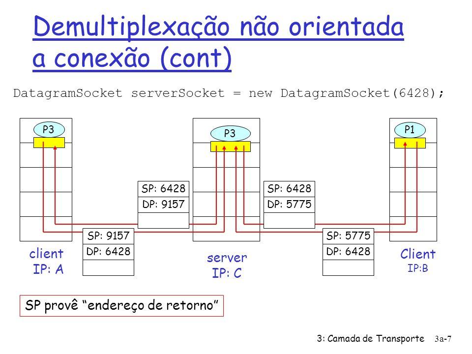 3: Camada de Transporte3a-6 Demultiplexação não orientada a conexão Ø Cria sockets com os números de porta DatagramSocket mySocket1 = new DatagramSocket(99111); DatagramSocket mySocket2 = new DatagramSocket(99222); Ø Socket UDP identificado pela 2-tupla: (endereço IP destino, no porta destino) Ø Quando o host recebe o segmetno UDP: ü Verifica o número da porta de destino no segmento ü Direciona o segmento UDP para o socket correspondente ao número da porta; Ø Datagramas IP com diferentes endereços IP de origem e/ou números de porta de origem são direcionados para o mesmo socket
