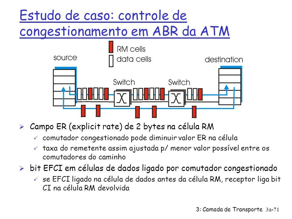 3: Camada de Transporte3a-70 Estudo de caso: controle de congestionamento no ABR da ATM ABR: available bit rate: Ø serviço elástico Ø se caminho do remetente sub-carregado: ü remetente deveria usar banda disponível Ø se caminho do remetente congestionado: ü remetente reduzido à taxa mínima garantida células RM (resource management): Ø enviadas pelo remetente, intercaladas com células de dados Ø bits na célula RM iniciados por comutadores (apoio da rede) ü bit NI: não aumente a taxa (congestionamento moderado) ü bit CI: indicação de congestionamento Ø células RM devolvidos ao remetente pelo receptor, sem alteração dos bits