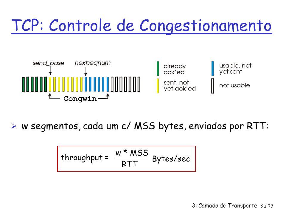 3: Camada de Transporte3a-72 TCP: Controle de Congestionamento Ø controle fim a fim (sem apoio da rede) Ø taxa de transmissão limitada pela tamanho da janela de congestionamento: LastByteSent-LastByteAcked CongWin CongWin é dinâmica, e é função do congestionamento na rede; Como TCP detecta congestionamento.