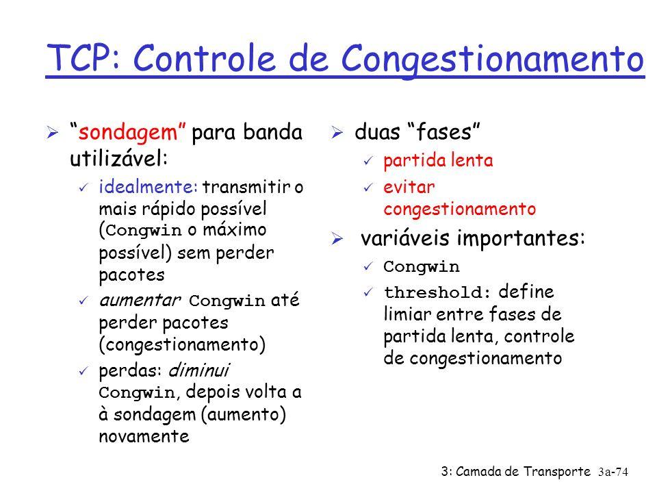 3: Camada de Transporte3a-73 TCP: Controle de Congestionamento Ø w segmentos, cada um c/ MSS bytes, enviados por RTT: throughput = w * MSS RTT Bytes/sec Congwin