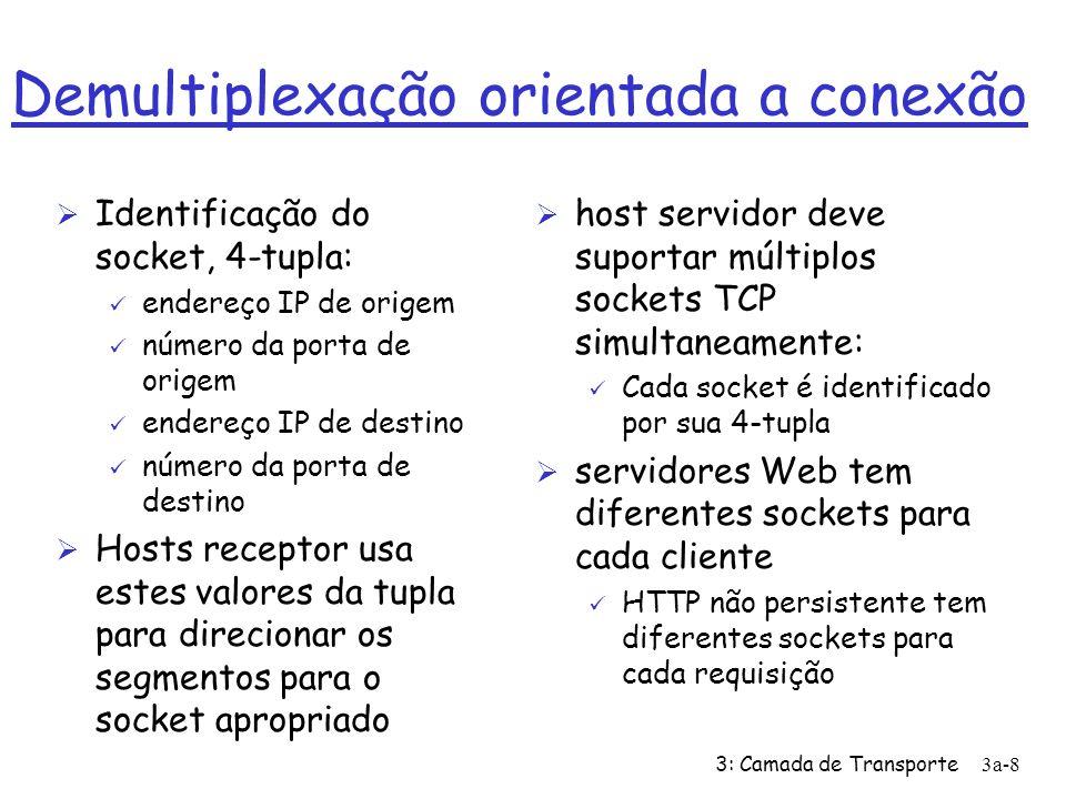 3: Camada de Transporte3a-7 Demultiplexação não orientada a conexão (cont) DatagramSocket serverSocket = new DatagramSocket(6428); Client IP:B P3 client IP: A P1 P3 server IP: C SP: 6428 DP: 9157 SP: 9157 DP: 6428 SP: 6428 DP: 5775 SP: 5775 DP: 6428 SP provê endereço de retorno