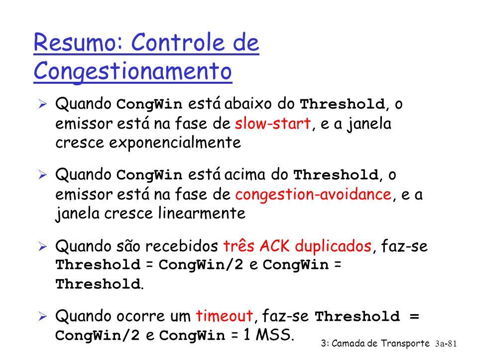 3: Camada de Transporte3a-80 TCP: Prevenção do Congestionamento (congestion Avoidance /* partida lenta acabou */ /* Congwin > threshold */ Until (event de perda) { cada w segmentos reconhecidos: Congwin++ } threshold = Congwin/2 Congwin = 1 faça partida lenta 1 1: TCP Reno pula partida lenta (recuperação rápida) depois de três ACKs duplicados prevenção congestionamento