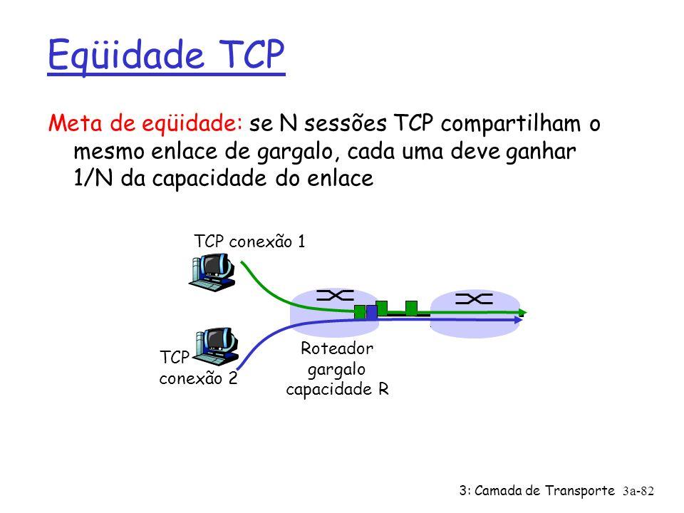 3: Camada de Transporte3a-81 Resumo: Controle de Congestionamento Quando CongWin está abaixo do Threshold, o emissor está na fase de slow-start, e a janela cresce exponencialmente Quando CongWin está acima do Threshold, o emissor está na fase de congestion-avoidance, e a janela cresce linearmente Quando são recebidos três ACK duplicados, faz-se Threshold = CongWin/2 e CongWin = Threshold.