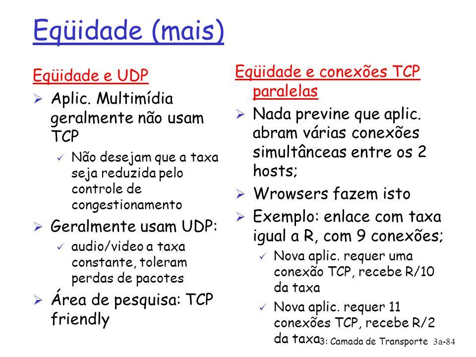 3: Camada de Transporte3a-83 Por quê TCP é justo.