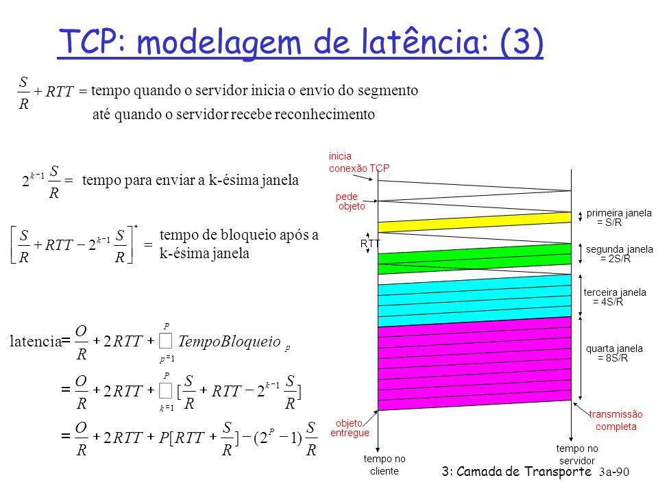 3: Camada de Transporte3a-89 TCP: modelagem de latência: Slow Start(2) Exemplo: O/S = 15 segmentos K = 4 janelas Q = 2 P = min{K-1,Q} = 2 Servidor para P=2 vezes Componentes da Latência: 2 RTT for connection estab and request O/R to transmit object time server idles due to slow start Servidor para: P = min{K-1,Q} vezes