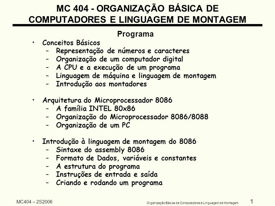 32 Organização Básica de Computadores e Linguagem de Montagem MC404 – 2S2006 ORGANIZAÇÃO BÁSICA DE COMPUTADORES E LINGUAGEM DE MONTAGEM Organização Básica de um Computador Digital Memórias –Semicondutoras: fabricadas com materiais semicondutores (silício) – circuitos integrados.
