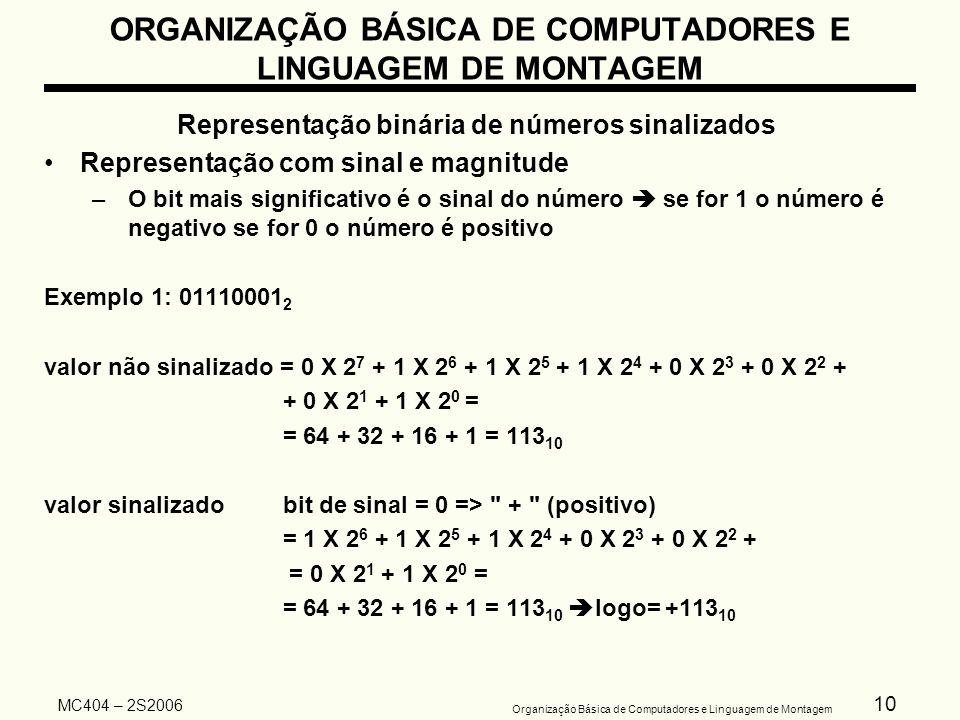 10 Organização Básica de Computadores e Linguagem de Montagem MC404 – 2S2006 ORGANIZAÇÃO BÁSICA DE COMPUTADORES E LINGUAGEM DE MONTAGEM Representação