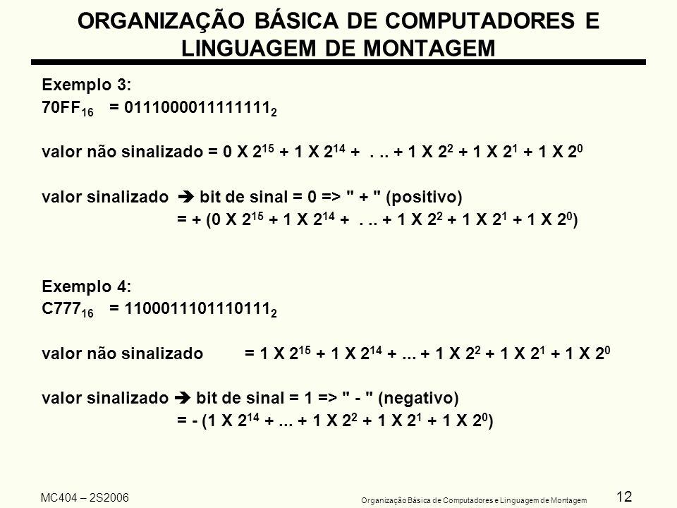 12 Organização Básica de Computadores e Linguagem de Montagem MC404 – 2S2006 ORGANIZAÇÃO BÁSICA DE COMPUTADORES E LINGUAGEM DE MONTAGEM Exemplo 3: 70F