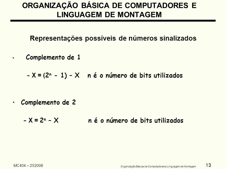 13 Organização Básica de Computadores e Linguagem de Montagem MC404 – 2S2006 Representações possíveis de números sinalizados Complemento de 1 - X = (
