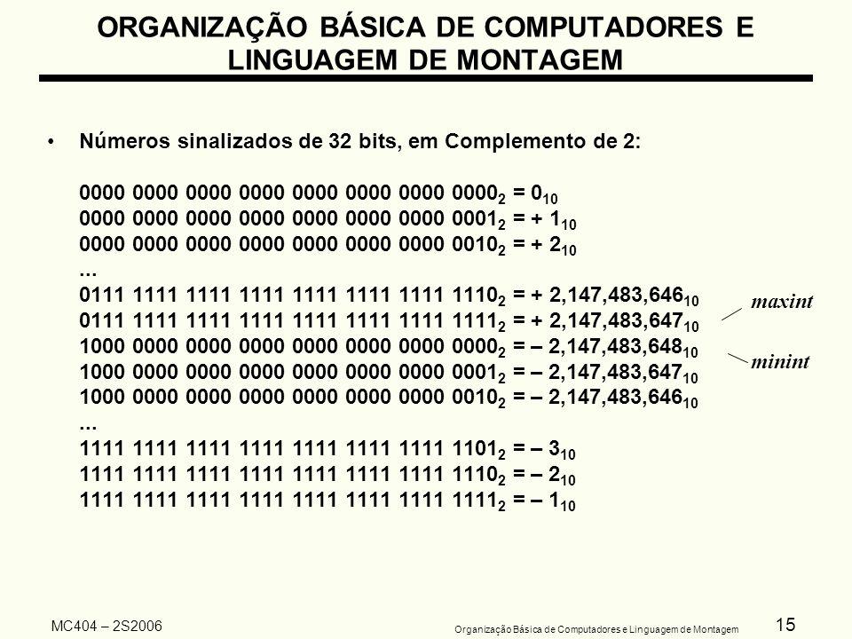 15 Organização Básica de Computadores e Linguagem de Montagem MC404 – 2S2006 Números sinalizados de 32 bits, em Complemento de 2: 0000 0000 0000 0000