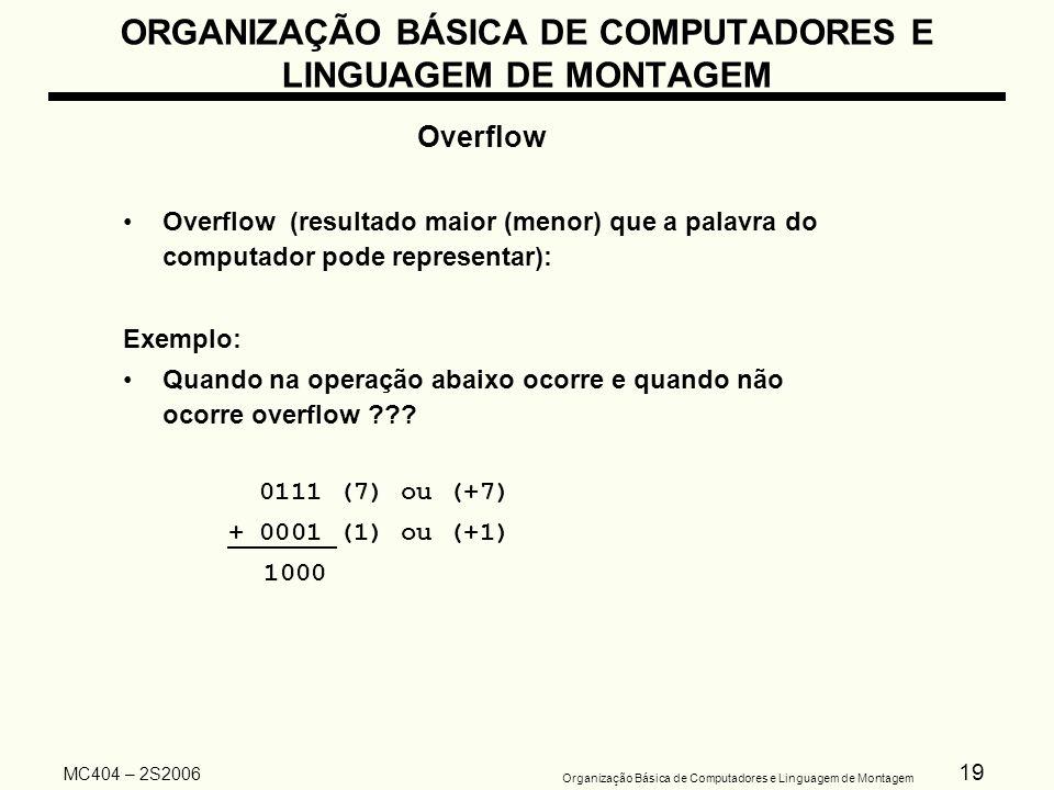 19 Organização Básica de Computadores e Linguagem de Montagem MC404 – 2S2006 ORGANIZAÇÃO BÁSICA DE COMPUTADORES E LINGUAGEM DE MONTAGEM Overflow Overf