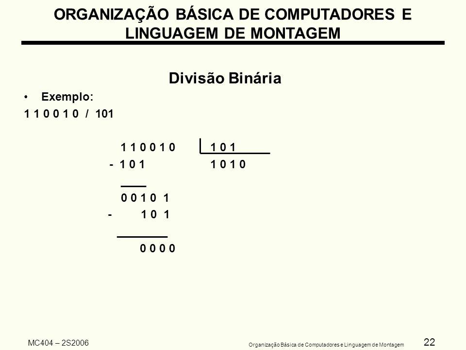 22 Organização Básica de Computadores e Linguagem de Montagem MC404 – 2S2006 ORGANIZAÇÃO BÁSICA DE COMPUTADORES E LINGUAGEM DE MONTAGEM Divisão Binári