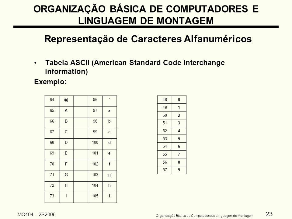 23 Organização Básica de Computadores e Linguagem de Montagem MC404 – 2S2006 ORGANIZAÇÃO BÁSICA DE COMPUTADORES E LINGUAGEM DE MONTAGEM Representação