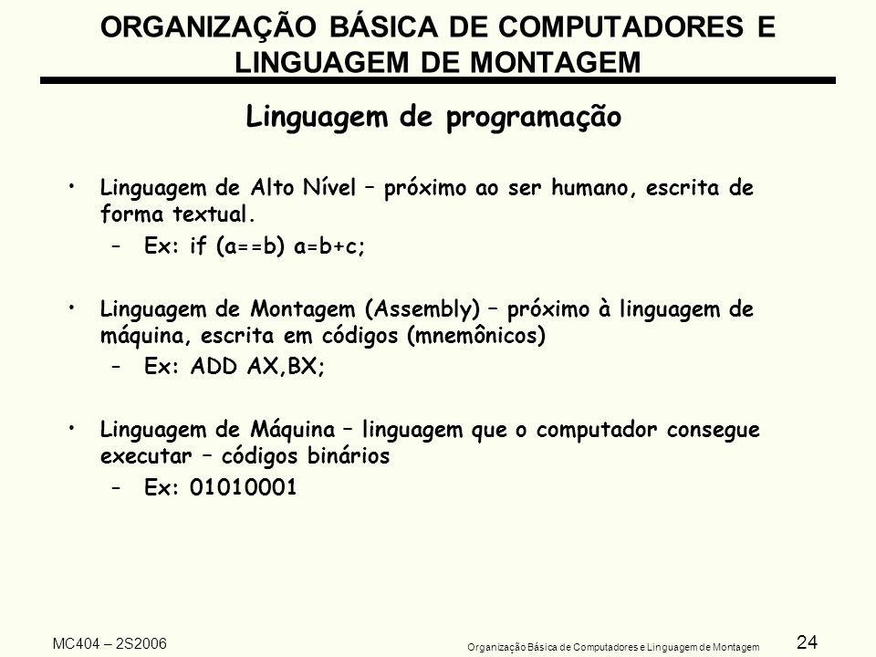 24 Organização Básica de Computadores e Linguagem de Montagem MC404 – 2S2006 ORGANIZAÇÃO BÁSICA DE COMPUTADORES E LINGUAGEM DE MONTAGEM Linguagem de p