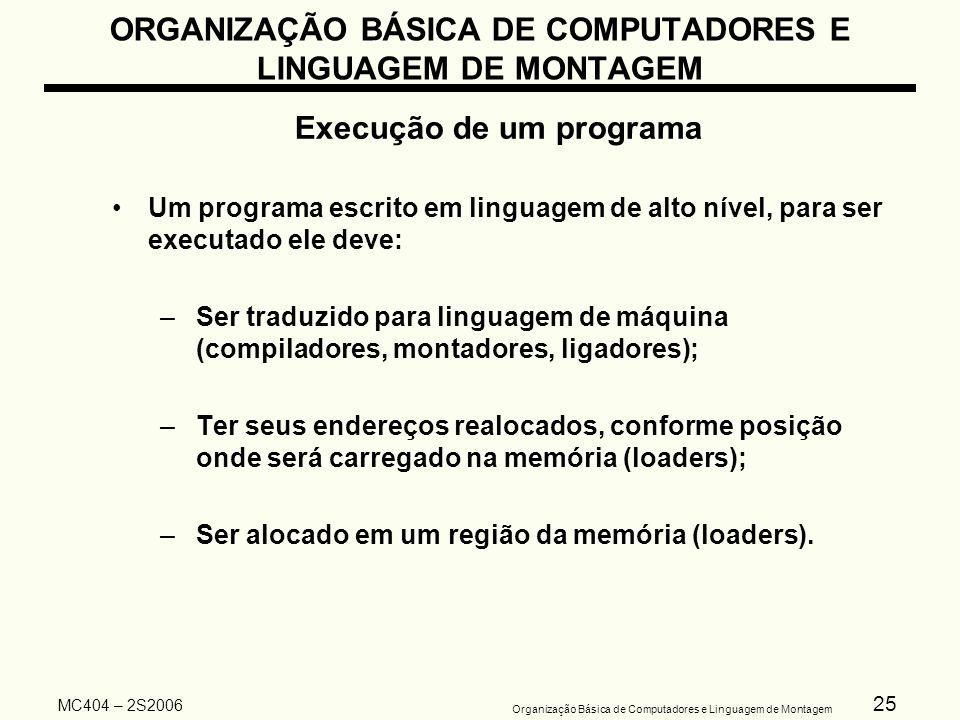 25 Organização Básica de Computadores e Linguagem de Montagem MC404 – 2S2006 ORGANIZAÇÃO BÁSICA DE COMPUTADORES E LINGUAGEM DE MONTAGEM Execução de um