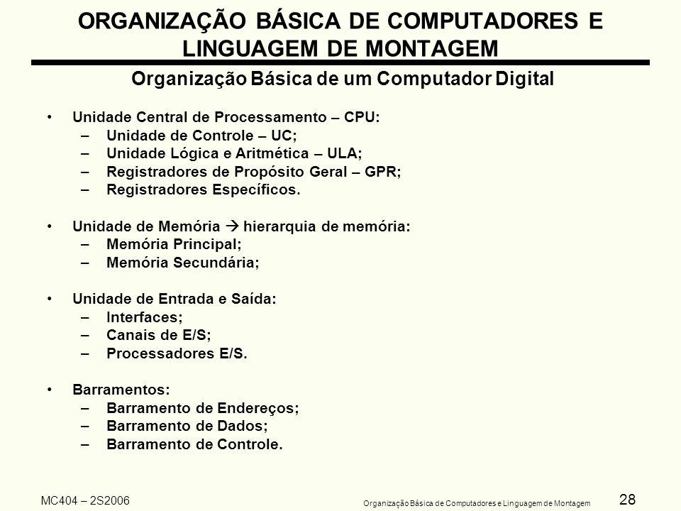 28 Organização Básica de Computadores e Linguagem de Montagem MC404 – 2S2006 ORGANIZAÇÃO BÁSICA DE COMPUTADORES E LINGUAGEM DE MONTAGEM Organização Bá