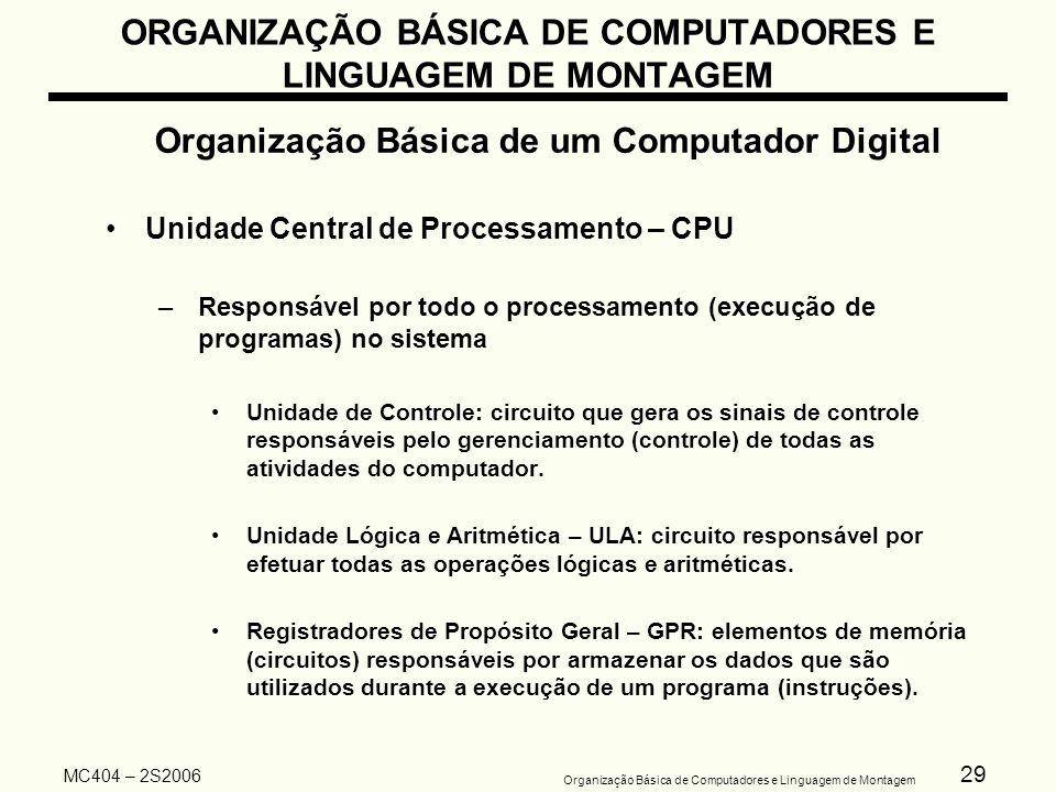 29 Organização Básica de Computadores e Linguagem de Montagem MC404 – 2S2006 ORGANIZAÇÃO BÁSICA DE COMPUTADORES E LINGUAGEM DE MONTAGEM Organização Bá