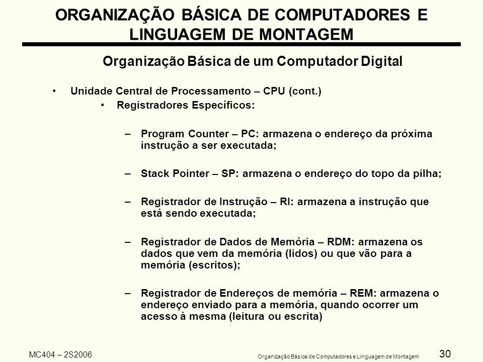 30 Organização Básica de Computadores e Linguagem de Montagem MC404 – 2S2006 ORGANIZAÇÃO BÁSICA DE COMPUTADORES E LINGUAGEM DE MONTAGEM Organização Bá