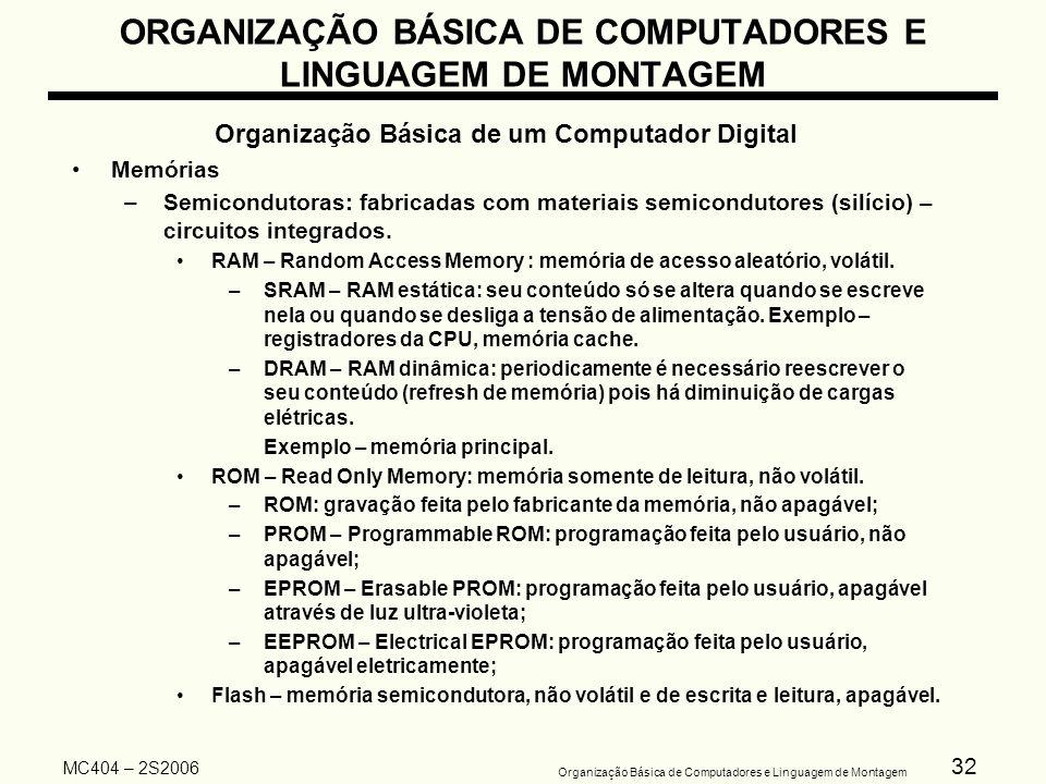 32 Organização Básica de Computadores e Linguagem de Montagem MC404 – 2S2006 ORGANIZAÇÃO BÁSICA DE COMPUTADORES E LINGUAGEM DE MONTAGEM Organização Bá
