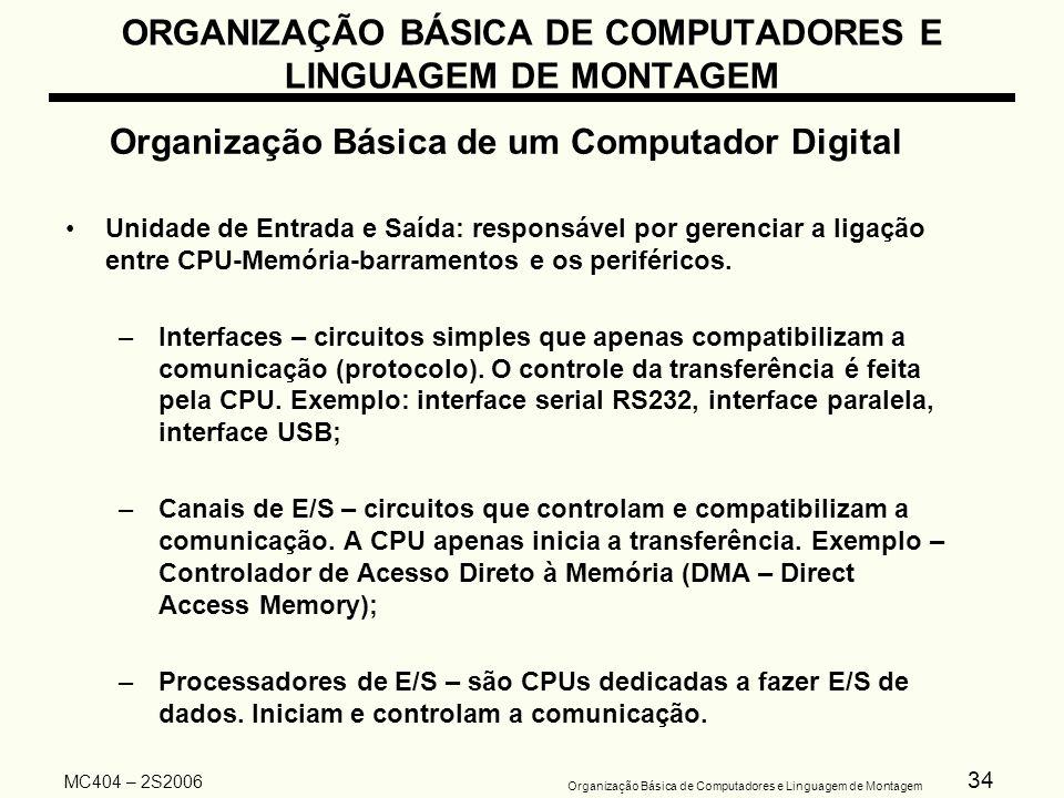 34 Organização Básica de Computadores e Linguagem de Montagem MC404 – 2S2006 ORGANIZAÇÃO BÁSICA DE COMPUTADORES E LINGUAGEM DE MONTAGEM Organização Bá