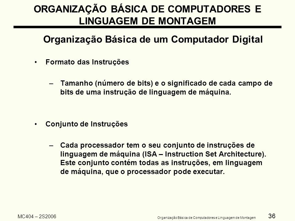 36 Organização Básica de Computadores e Linguagem de Montagem MC404 – 2S2006 ORGANIZAÇÃO BÁSICA DE COMPUTADORES E LINGUAGEM DE MONTAGEM Organização Bá