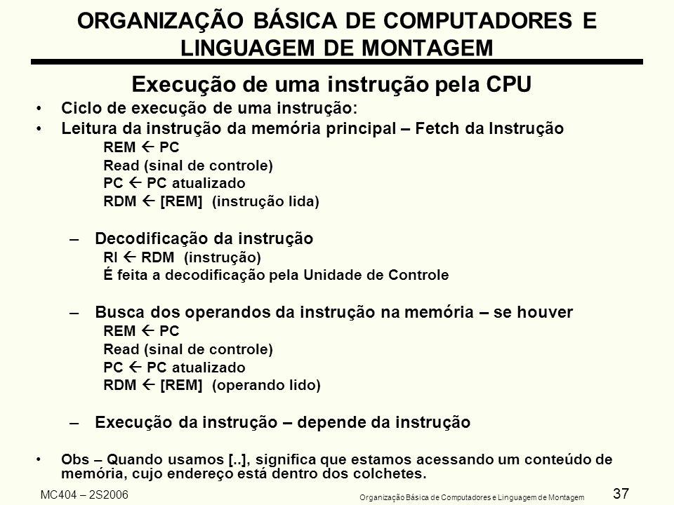 37 Organização Básica de Computadores e Linguagem de Montagem MC404 – 2S2006 ORGANIZAÇÃO BÁSICA DE COMPUTADORES E LINGUAGEM DE MONTAGEM Execução de um
