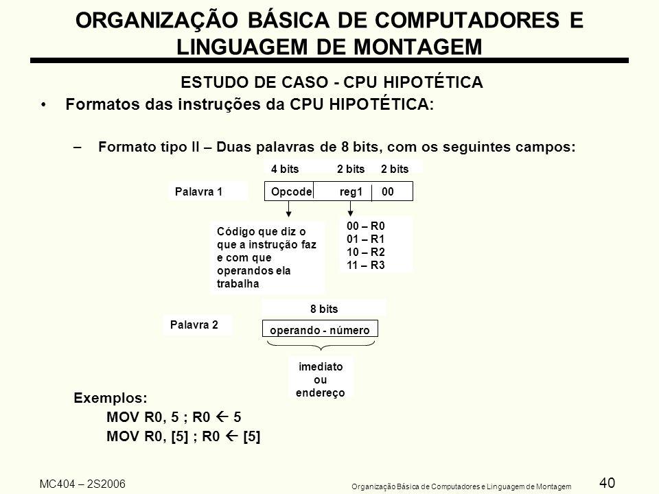 40 Organização Básica de Computadores e Linguagem de Montagem MC404 – 2S2006 ORGANIZAÇÃO BÁSICA DE COMPUTADORES E LINGUAGEM DE MONTAGEM ESTUDO DE CASO