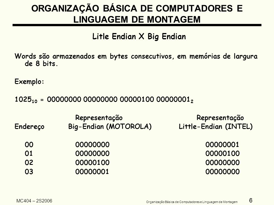 6 Organização Básica de Computadores e Linguagem de Montagem MC404 – 2S2006 ORGANIZAÇÃO BÁSICA DE COMPUTADORES E LINGUAGEM DE MONTAGEM Litle Endian X