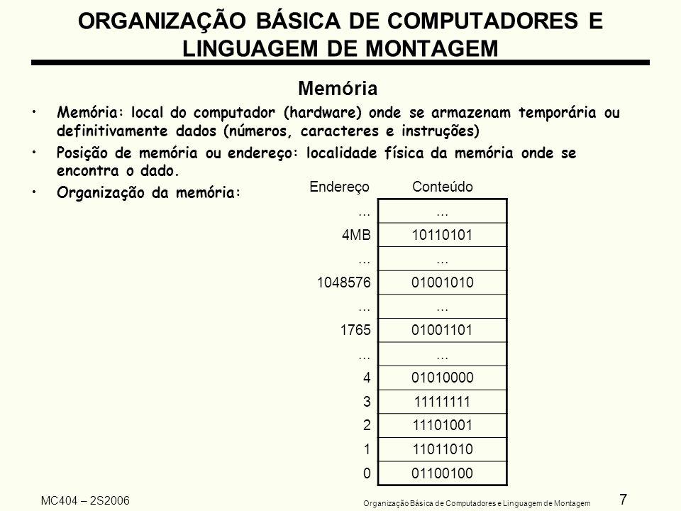38 Organização Básica de Computadores e Linguagem de Montagem MC404 – 2S2006 ORGANIZAÇÃO BÁSICA DE COMPUTADORES E LINGUAGEM DE MONTAGEM Organização Básica de um Computador Digital Memória Principal Unidade de E/S Bus de controle Bus de endereço Bus de dados REMRDM UNIDADE DE CONTROLE PC RI SP ULA...