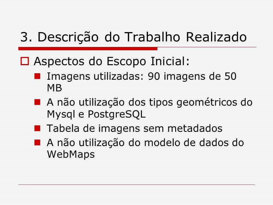 3. Descrição do Trabalho Realizado Aspectos do Escopo Inicial: Imagens utilizadas: 90 imagens de 50 MB A não utilização dos tipos geométricos do Mysql