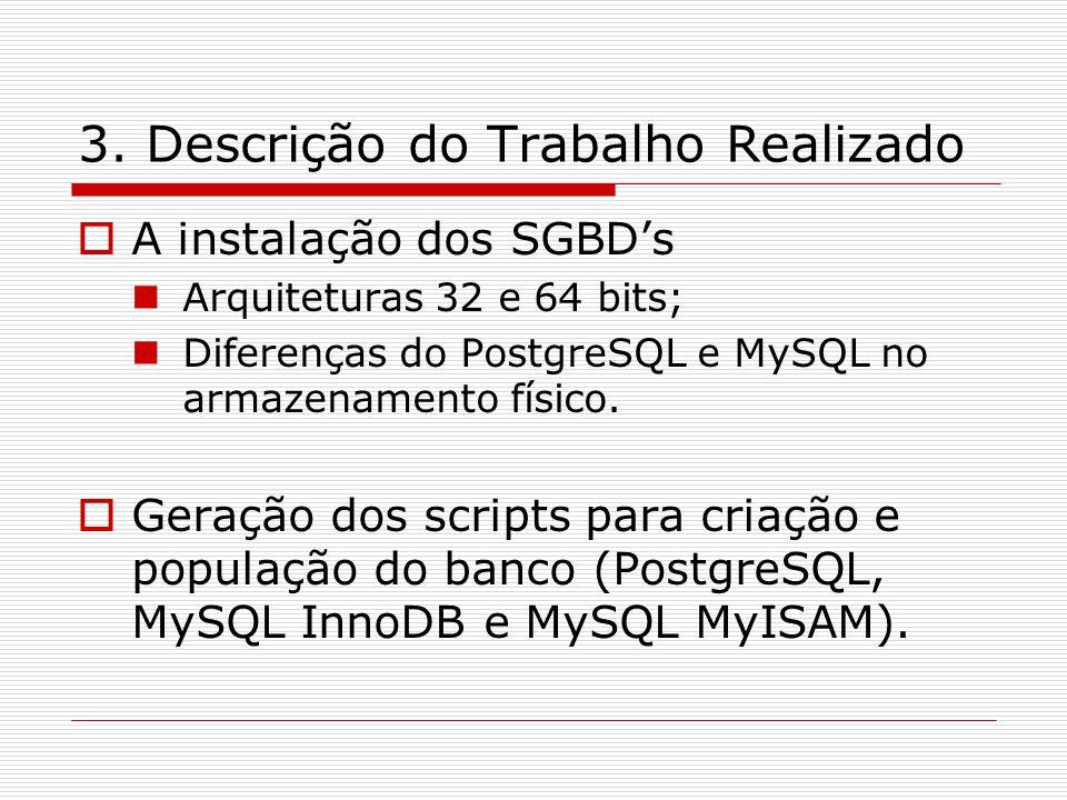 3. Descrição do Trabalho Realizado A instalação dos SGBDs Arquiteturas 32 e 64 bits; Diferenças do PostgreSQL e MySQL no armazenamento físico. Geração