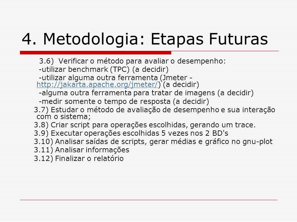 4. Metodologia: Etapas Futuras 3.6) Verificar o método para avaliar o desempenho: -utilizar benchmark (TPC) (a decidir) -utilizar alguma outra ferrame