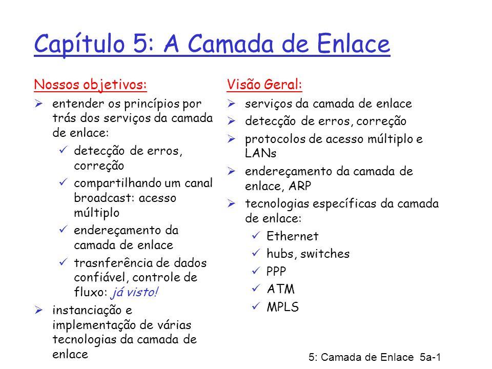5: Camada de Enlace 5a-1 Capítulo 5: A Camada de Enlace Nossos objetivos: entender os princípios por trás dos serviços da camada de enlace: detecção d