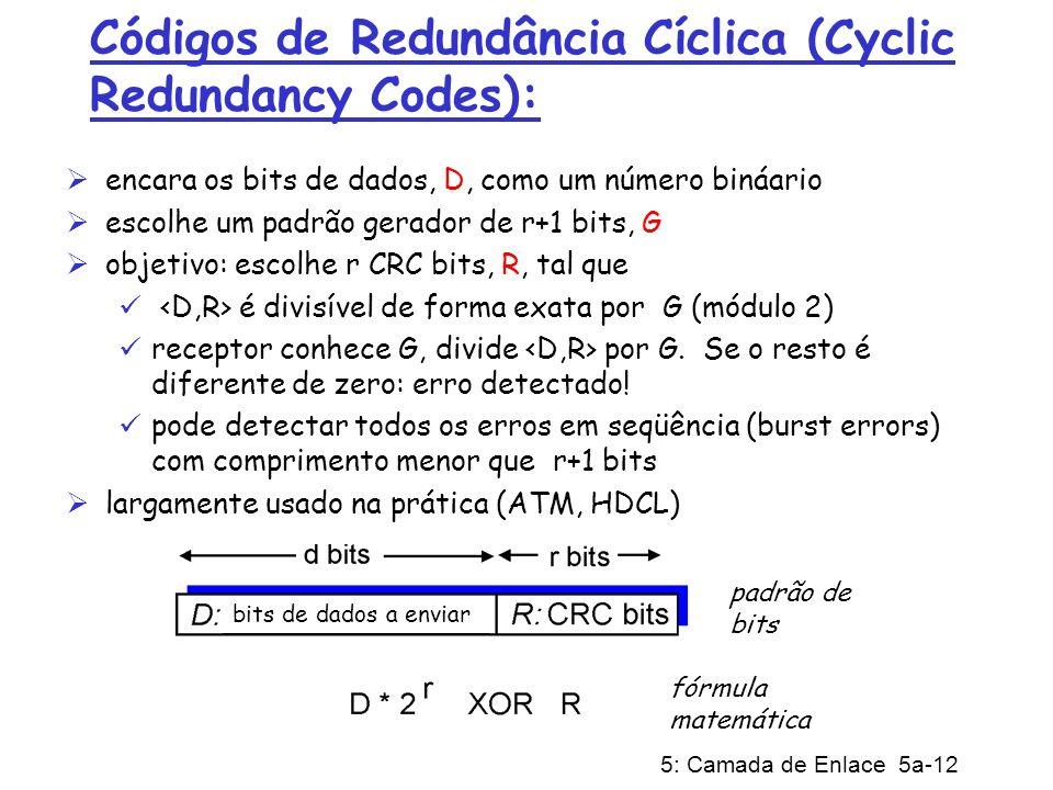 5: Camada de Enlace 5a-12 Códigos de Redundância Cíclica (Cyclic Redundancy Codes): encara os bits de dados, D, como um número bináario escolhe um pad