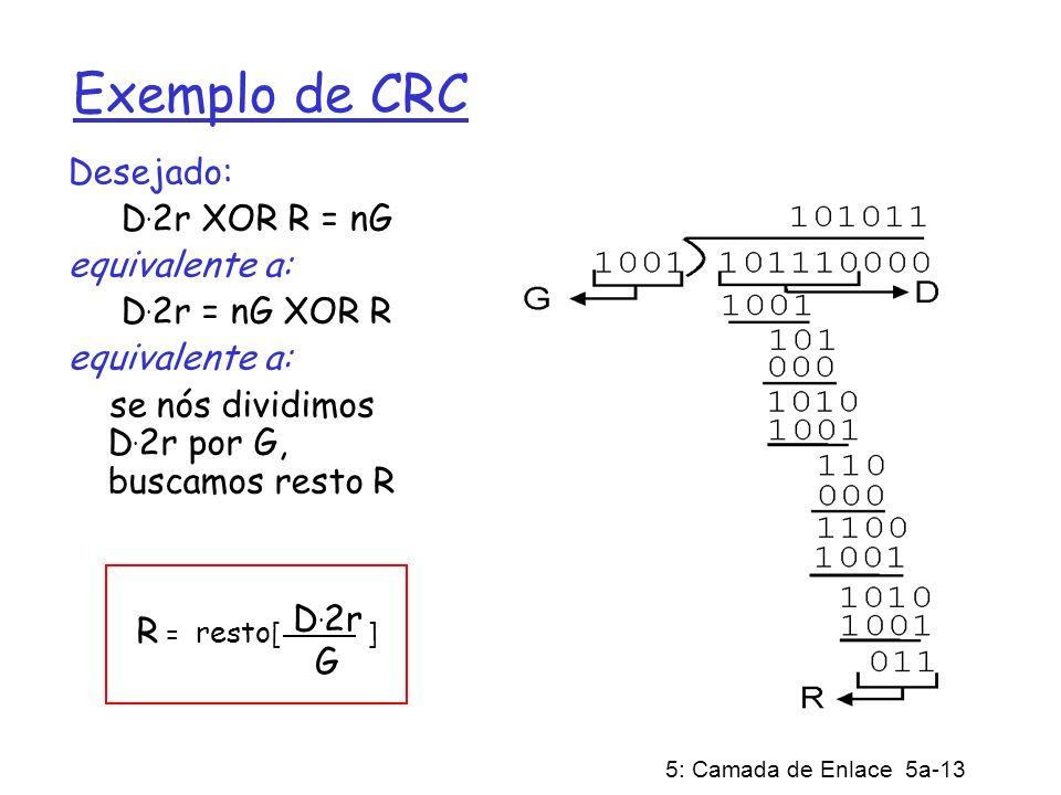 5: Camada de Enlace 5a-13 Exemplo de CRC Desejado: D. 2r XOR R = nG equivalente a: D. 2r = nG XOR R equivalente a: se nós dividimos D. 2r por G, busca