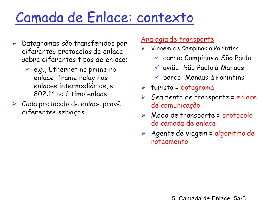 5: Camada de Enlace 5a-3 Camada de Enlace: contexto Datagramas são transferidos por diferentes protocolos de enlace sobre diferentes tipos de enlace: