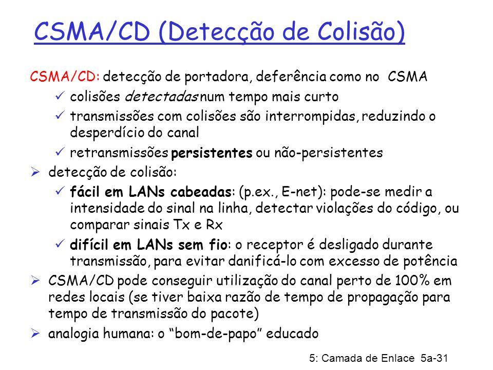 5: Camada de Enlace 5a-31 CSMA/CD (Detecção de Colisão) CSMA/CD: detecção de portadora, deferência como no CSMA colisões detectadas num tempo mais cur