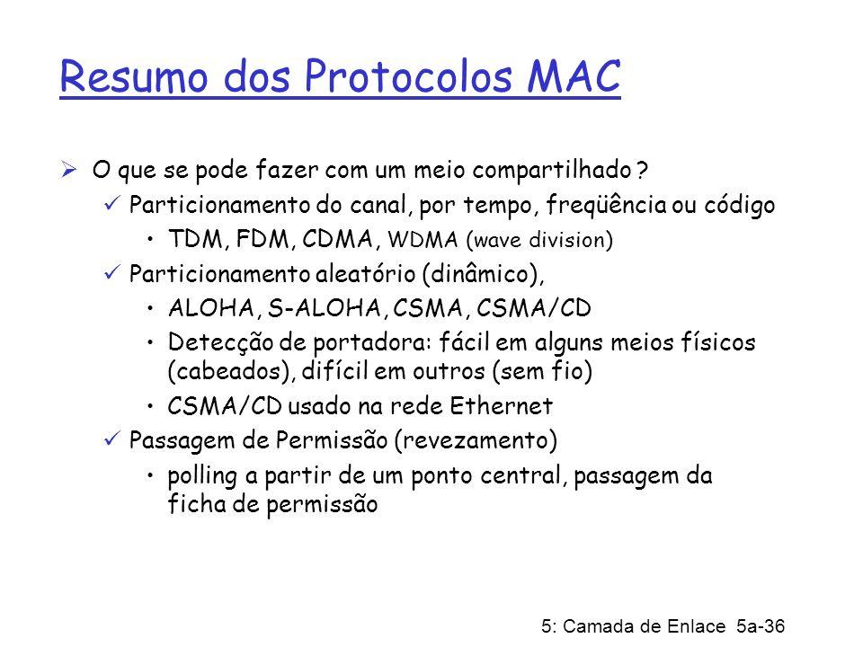 5: Camada de Enlace 5a-36 Resumo dos Protocolos MAC O que se pode fazer com um meio compartilhado ? Particionamento do canal, por tempo, freqüência ou