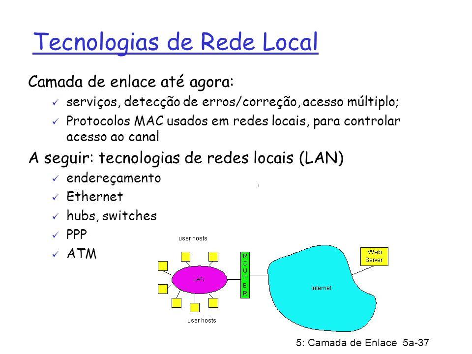 5: Camada de Enlace 5a-37 Tecnologias de Rede Local Camada de enlace até agora: serviços, detecção de erros/correção, acesso múltiplo; Protocolos MAC