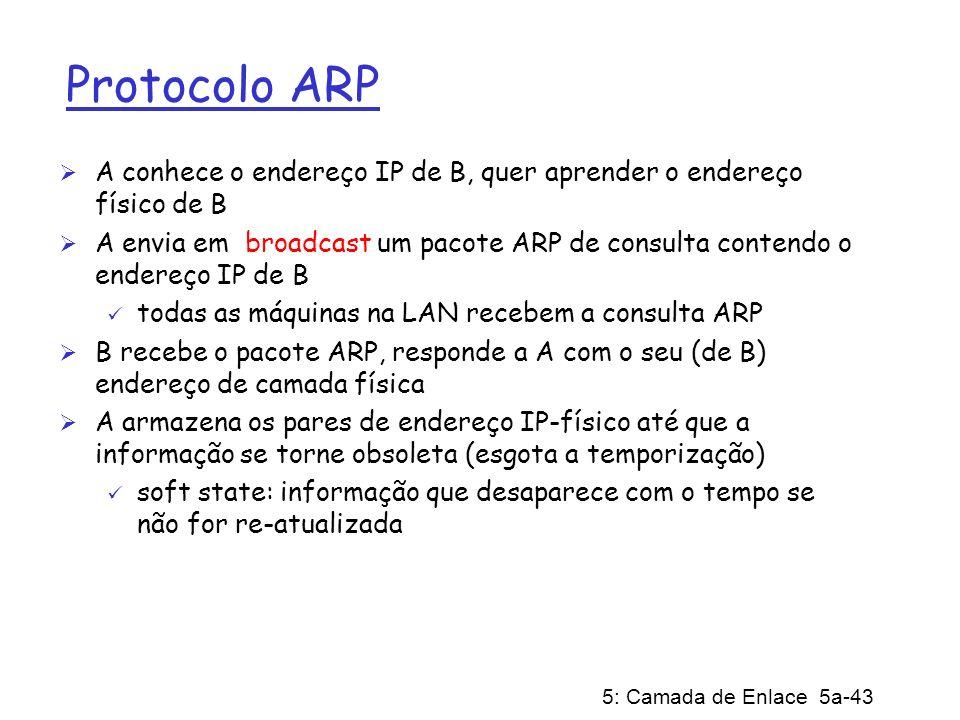 5: Camada de Enlace 5a-43 Protocolo ARP A conhece o endereço IP de B, quer aprender o endereço físico de B A envia em broadcast um pacote ARP de consu