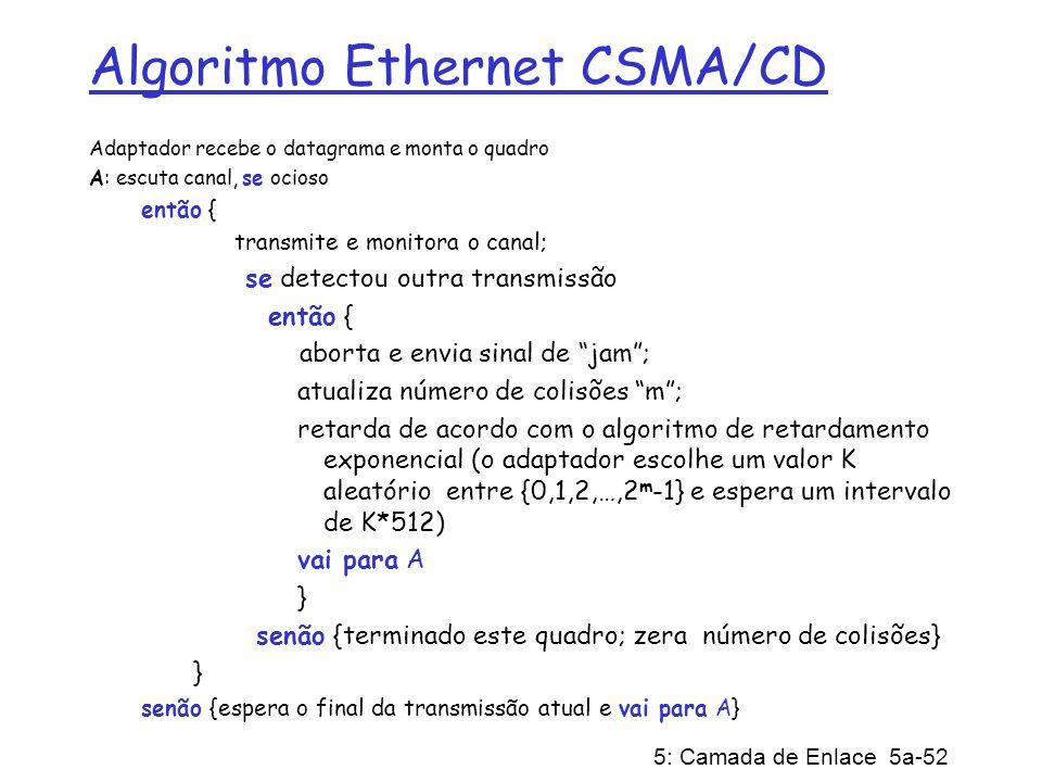 5: Camada de Enlace 5a-52 Algoritmo Ethernet CSMA/CD Adaptador recebe o datagrama e monta o quadro A: escuta canal, se ocioso então { transmite e moni